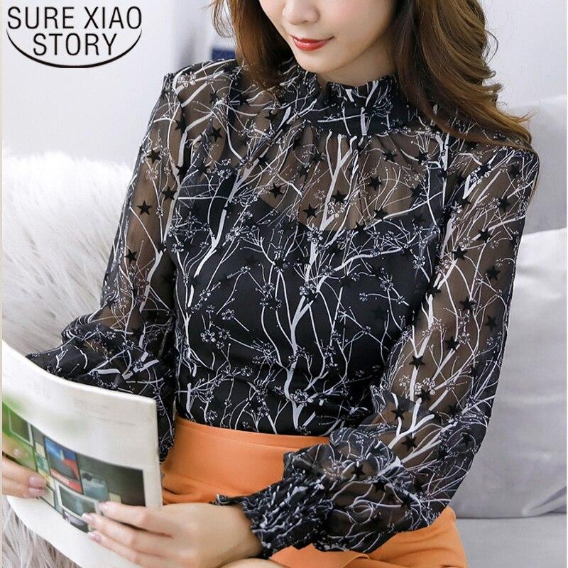 Autumn 2019 New Korean Casual Women Tops Long Sleeve Lace Women Blouses Printed Elegant Women Clothing Fashion Tops 6146 50