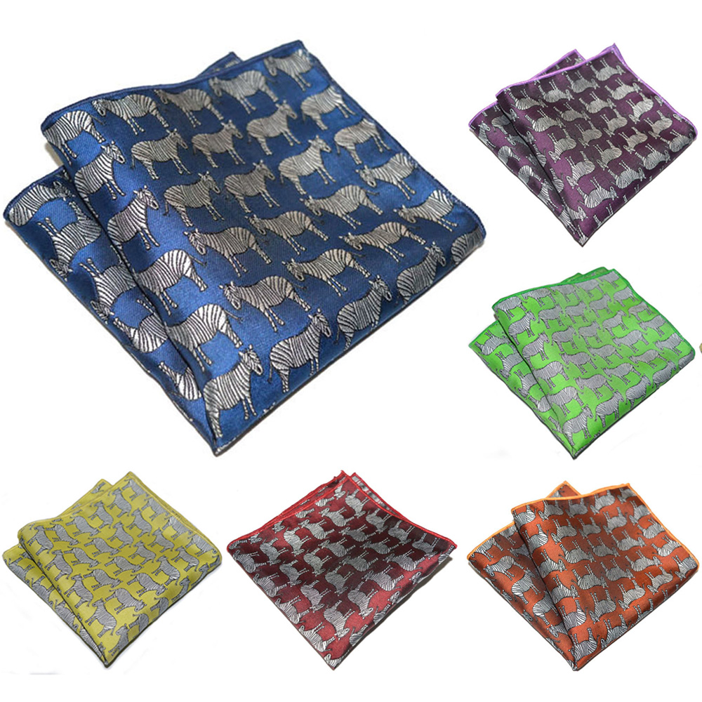 Men Party Wedding Business Handkerchief Hanky Zebra Pattern Pocket Square  YXTIE0310