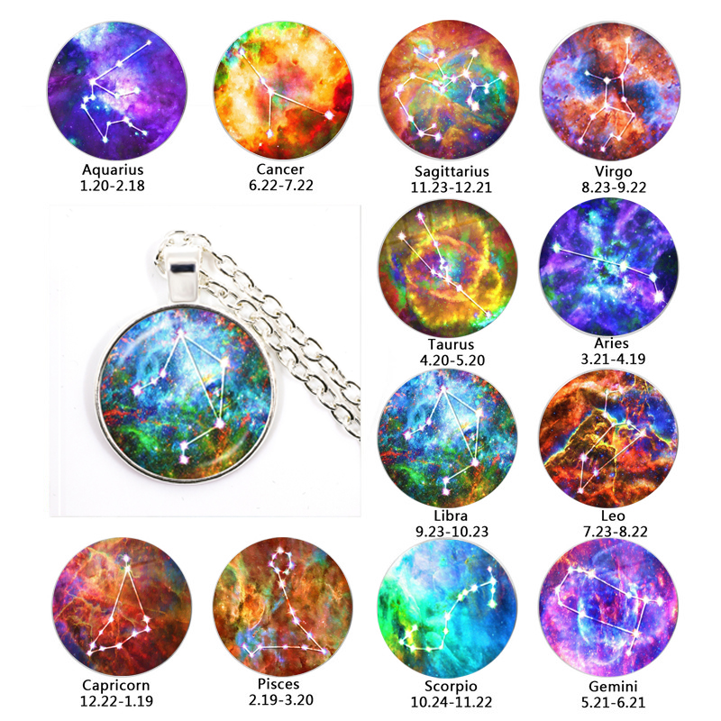 <font><b>12</b></font> <font><b>Constellation</b></font> Glass Cabochon <font><b>Pendant</b></font> <font><b>Necklace</b></font> Classic <font><b>Zodiac</b></font> <font><b>Sign</b></font> Horoscope Astrology Jewelry For Men Women Birthday Gift image