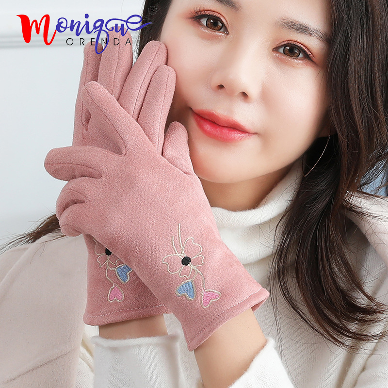 Winter Suede Women's Gloves Warm Students Cute Love Touch Screen Plus Velvet Thickening Gloves For Riding
