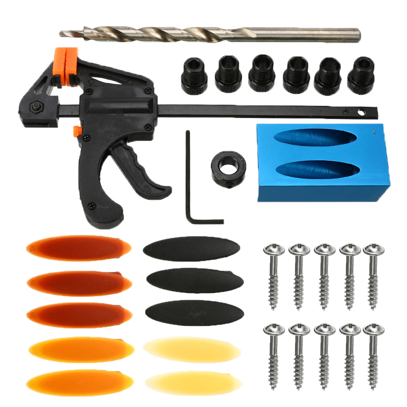 31Pcs Pocket Hole Jig Kit DIY Woodworking Drill Bit Set 6/8/10mm Drill Sleeve Bit Screws Carpenters Wood Joint Tool Durable
