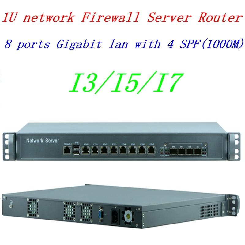 1U Network Firewall Router System With 8 Ports Gigabit Lan 4 SPF Intel I3 4130 3.4Ghz Mikrotik PFSense ROS Wayos 4G RAM 32G SSD