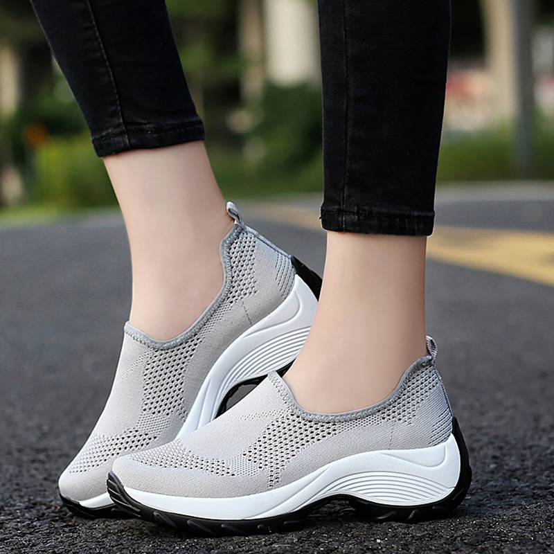 Women Casual Shoes Knitting Wedges Hollow Shallow Sock Sneaker Women Slip On Breathable Chunky Sneakers Woman