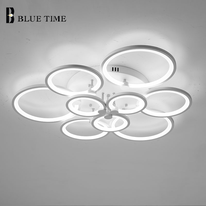 Luminaires Modern Led Chandelier For Living Room Bedroom Dining Room Kitchen 10Rings Ceiling Chandelier Lighting Fixtures White