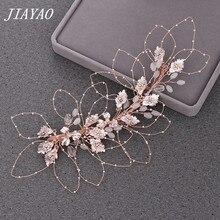 Tiara de oro rosa, pinzas para diadema, accesorios nupciales para el cabello, Tiara nupcial de hojas de diamantes de imitación, diadema de boda, joyería de Metal para el cabello de boda