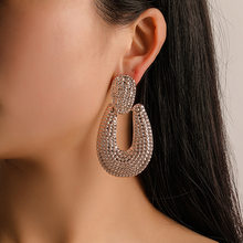 SIZZZ 2020 Hot Jewelry Fashion Exaggerated U-shaped Earrings Female Alloy Plated Bump Matte Earring for woman(China)