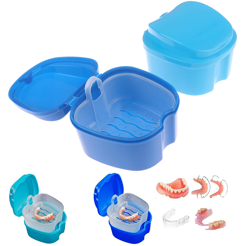 1pcs Denture Bath Box Cleaning Teeth Case Dental Retainer Denture Storage Box  With Hanging Net Container Denture Boxs