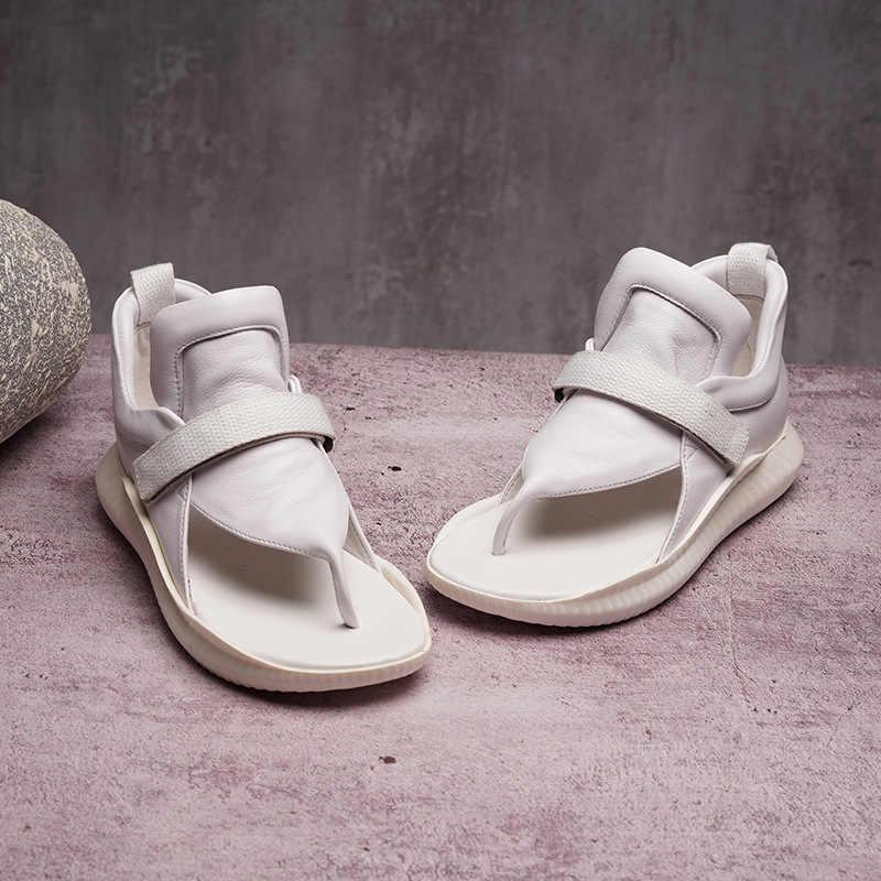 ผู้หญิงรองเท้าแตะรองเท้าแตะรองเท้าส้นสูงสีดำฤดูร้อนรองเท้า Flip Flops 2019 Handmade ของแท้หนังผู้หญิงรองเท้าแตะ Gladiator รองเท้า