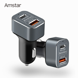 Image 1 - Amstar 60W Autolader Usb C Pd Charger Quick Charge 3.0 Snelle Auto Oplader Voor Iphone 11 Pro xs Xr X 8 Ipad Macbook Samsung 10 + 9