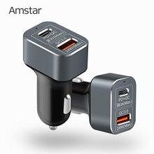 Amstar 60w carregador de carro usb c pd carregador de carga rápida 3.0 rápido carro carregador para iphone 11 pro xs xr x 8 ipad macbook samsung 10 + 9