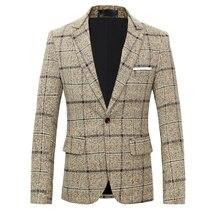 British Men's Blazer Jacket Plaid Suit Coat Male Slim Fit Dress Prom Tops Clothes Man Spring Autumn Casual Blazers for Men