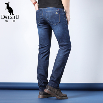 DAISHU New Men Stretch Loose Fit Pleated Jeans Classic Casual Denim Trousers Spring Summer Blue Pants Male Brand Clothes simwood brand 2016 men s jeans straight fit denim trousers famous brand pants blue casual long pants jeans free shipping sj629