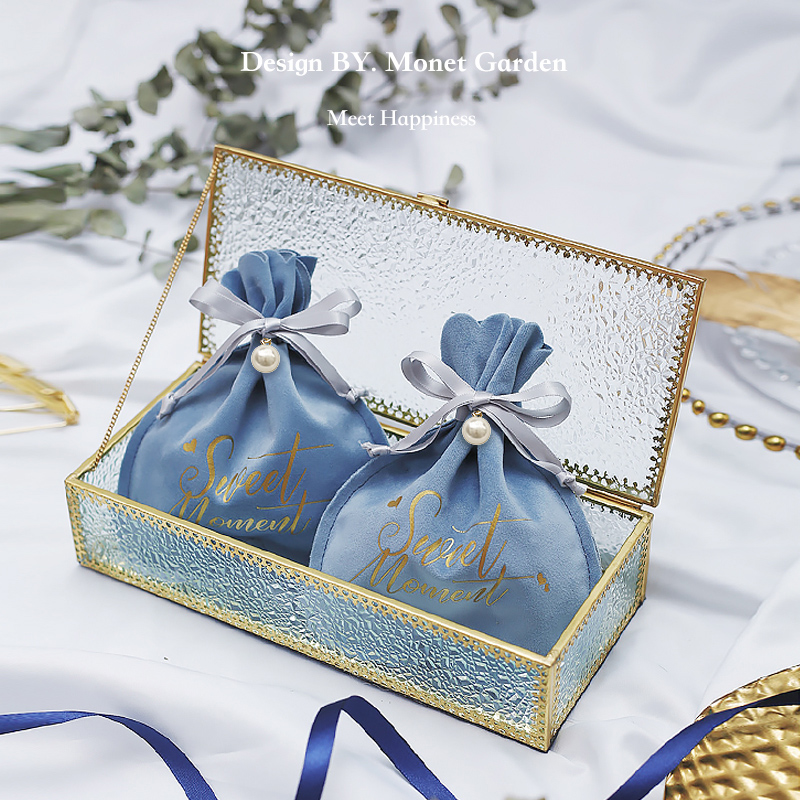 100 PCS Wedding Favor Box Multi-Color Cube Butterfly Candy Box Sugar Chocolate Foldable Boxes for Birthday Wedding Party Favor Blue