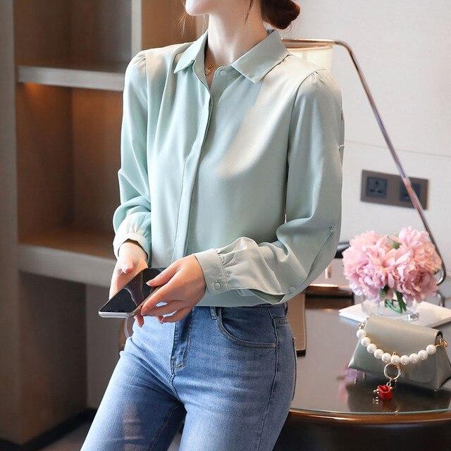 Korean Women Shirts Chiffon Women Blouses Office Lady Long Sleeve Shirts Woman Blouse Tops Plus Size Blusas Mujer De Moda 2020 5