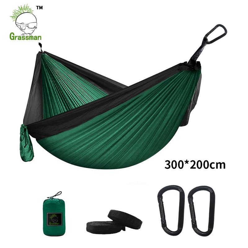 300*200 см портативный гамак-парашют для кемпинга выживания садовая уличная мебель для отдыха Спящая хамака путешествия двойная подвесная кро...