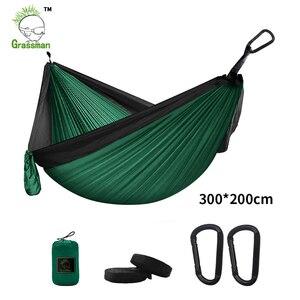Image 1 - 300*200cm przenośny Camping hamak spadochronowy Survival zewnętrzne meble ogrodowe wypoczynek spanie Hamaca Travel podwójne zawieszenie łóżko