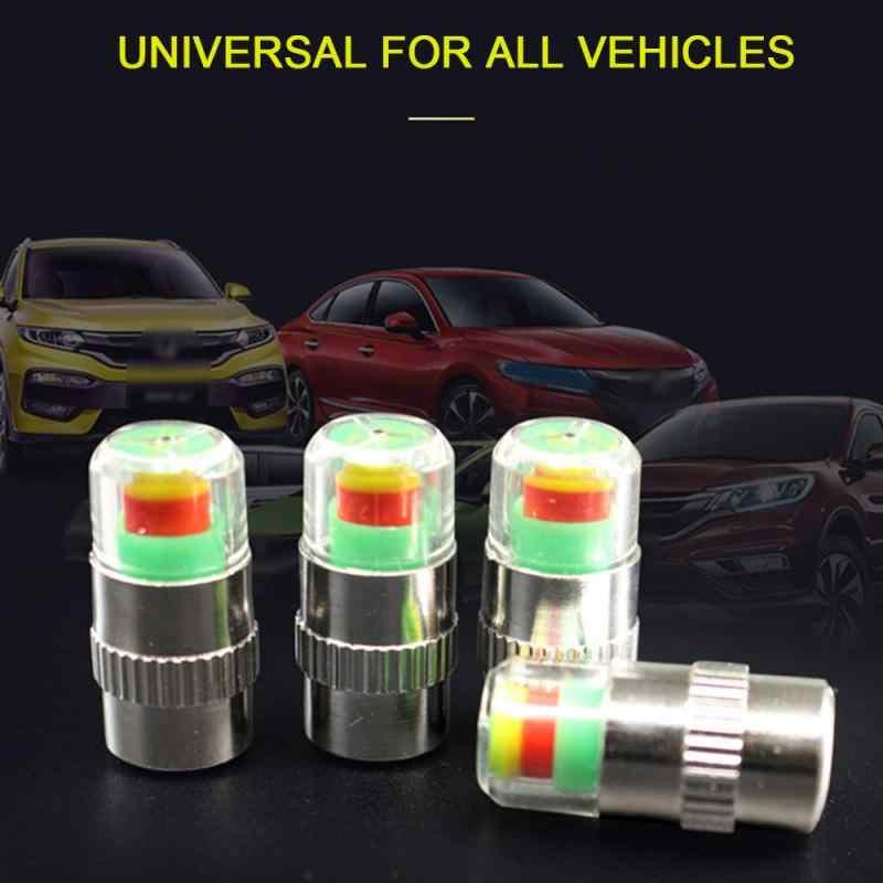 4 本車の自動車タイヤ空気圧警報圧力計キャップ TireGage アラートセンサーインジケータバルブキャップ 2.4 バー 30 PSI ユニバーサル