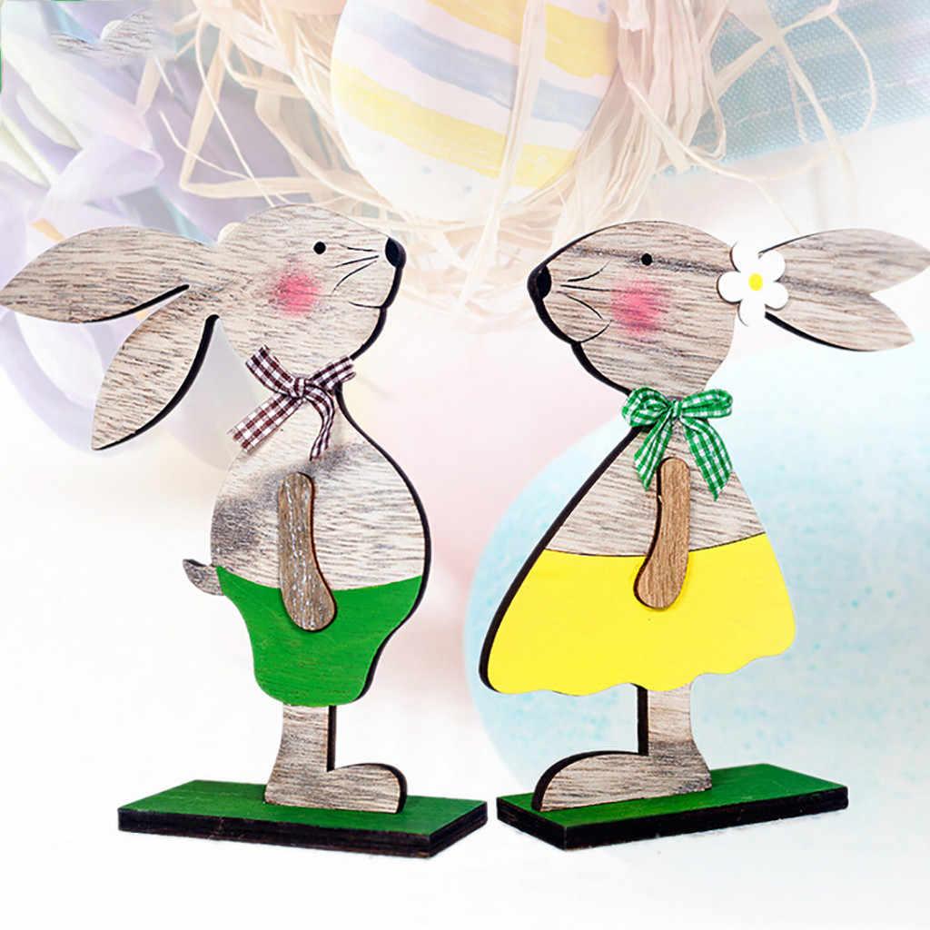 Paskalya süslemeleri ahşap tavşan şekiller süsler hediyeler figürleri ev dekoratif dekore kolye paskalya süslemeleri için ev
