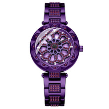 New Women Rhinestone Watches Lady Rotation Dress Watch brand Stainless Steel Big Dial Bracelet Wristwatch Crystal Purple
