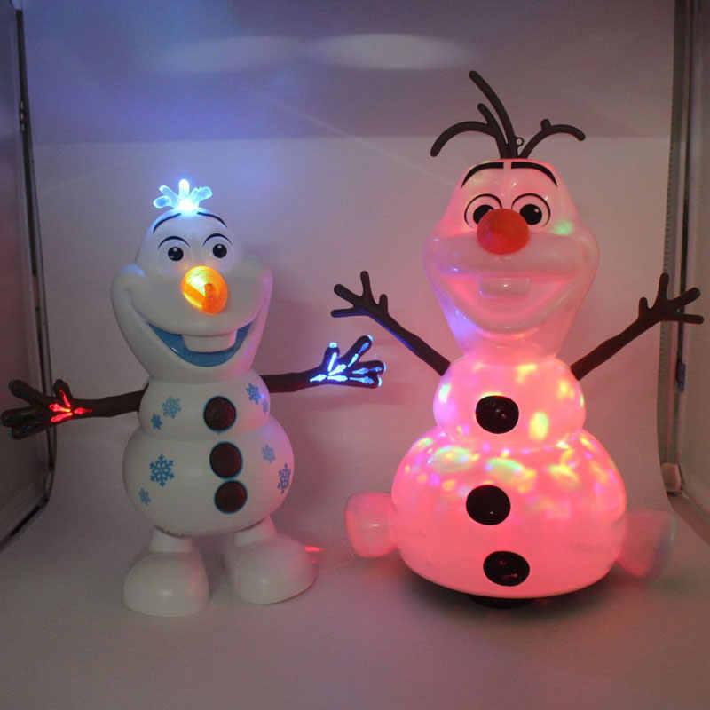 קפוא 2 רובוטים שלג אולף צעצועים חשמליים תנועות ריקוד אור מוסיקה קריקטורה פלסטיק צעצוע בני ובנות חג המולד מתנות