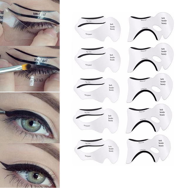 10PCS Pro Eyeliner Eye Shadow Stencils Winged Eyeliner Stencil Models Template Shaping Tools Eyebrows Template Card Makeup Tool