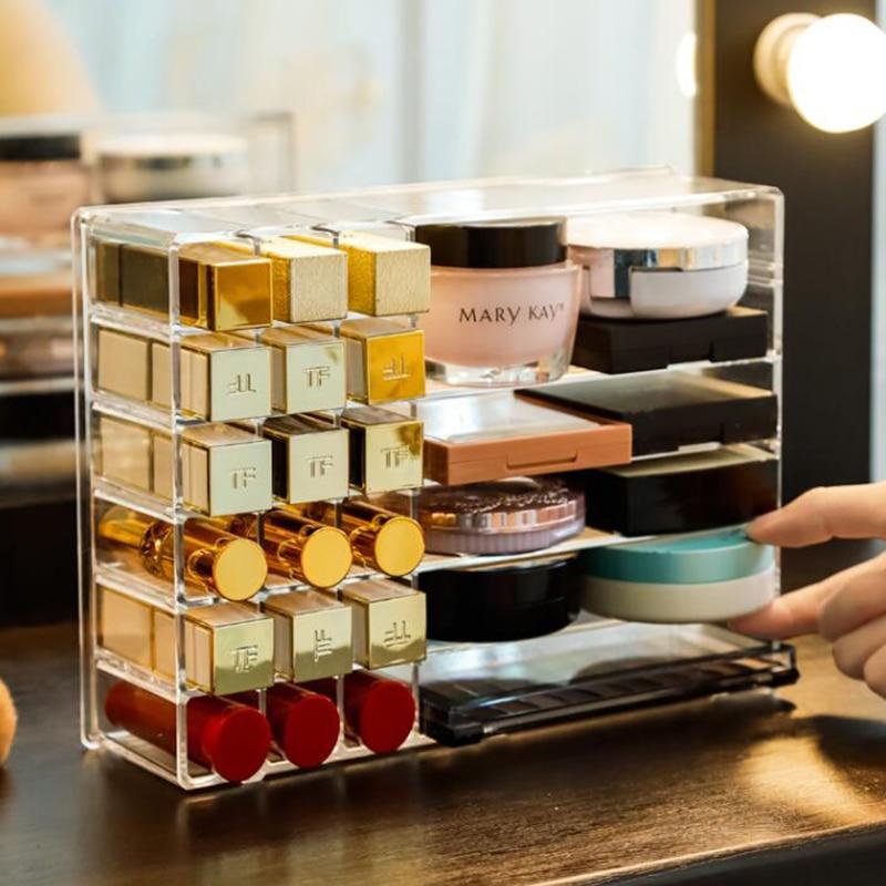 24 Grid Lipstick Storage Box Makeup Organizer Transparent Blush Powder Storage Plastic Box Jewelry Display Rack Adjustable