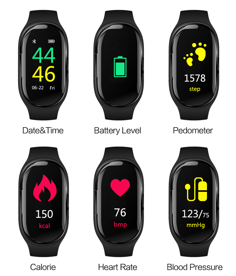 Newest <font><b>M1</b></font> AI Smart <font><b>Watch</b></font> With TWS Bluetooth Earphone 2019 Heart Rate Fitness Tracker Monitor Health Men Women Smart Wristband image