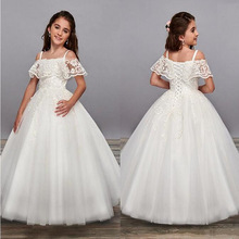 Girls Dress Ball-Gowns First-Communion Elegant Lace Formal Long Princess