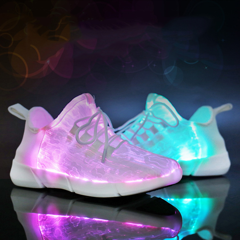 Size 35-44 Summer USB Recharge LED Fiber Optic Sport Unisex Shoes For Girls Boys Luminous Glowing Casual Shoes Dropshipping