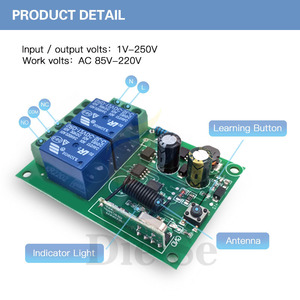 Image 4 - 433 MHz Drahtlose Universal Fernbedienung Schalter AC 110V 220V 2CH rf Relais Empfänger und Sender für Garage und Tor Steuerung