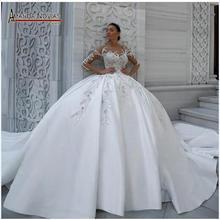 우아한 새틴 웨딩 드레스 푹신한 볼 가운 패턴