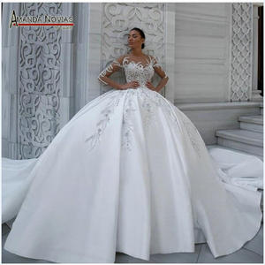 Image 1 - אלגנטי סאטן שמלת כלה נפוחה כדור שמלת דפוסים