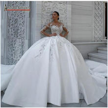 Elegant satin wedding dress puffy ball gown patterns
