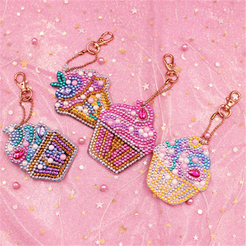 Chaveiro com pingente de coruja/diamante, 4/5 peças, faça você mesmo, broca completa, pintura especial, desenhos animados, bolo, feminina, chaveiro, joia anel de presentes