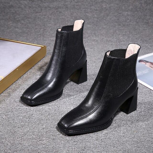 2020 botas de Chelsea para mujer, botas de tacón alto cuadradas para mujer, botas de mujer, zapatos de tejido elástico, zapatos casuales para mujer 4