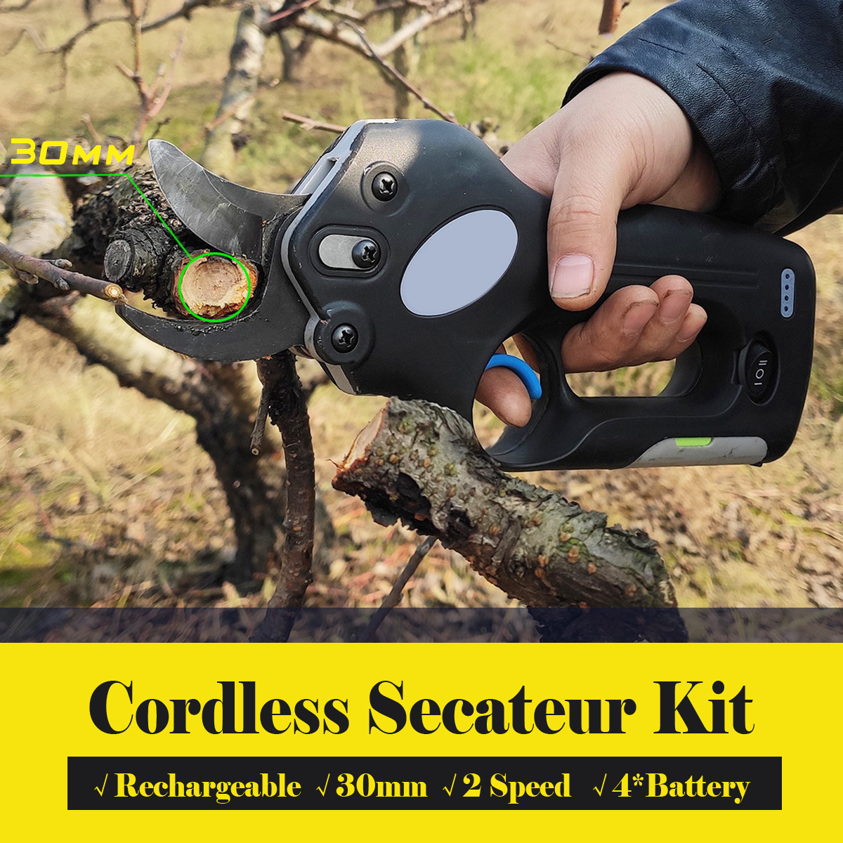 12V Wireless Cordless Electric Rechargeable Scissors Pruning Shears Tree Garden Tool Branches Pruning Tools W/ 4 Li-ion Battery