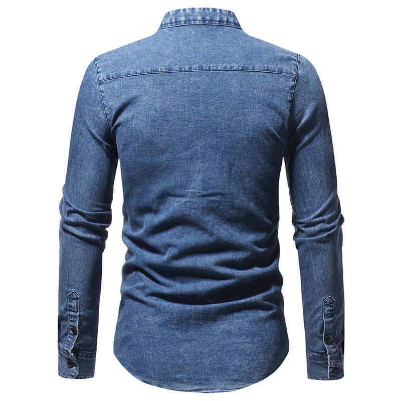 2019 mężczyzna koszula Slim Fit jednolity kolor mycia Plus rozmiar męskie z długim rękawem marki na co dzień Retro odzież czarny niebieski koszula dżinsowa mężczyzn