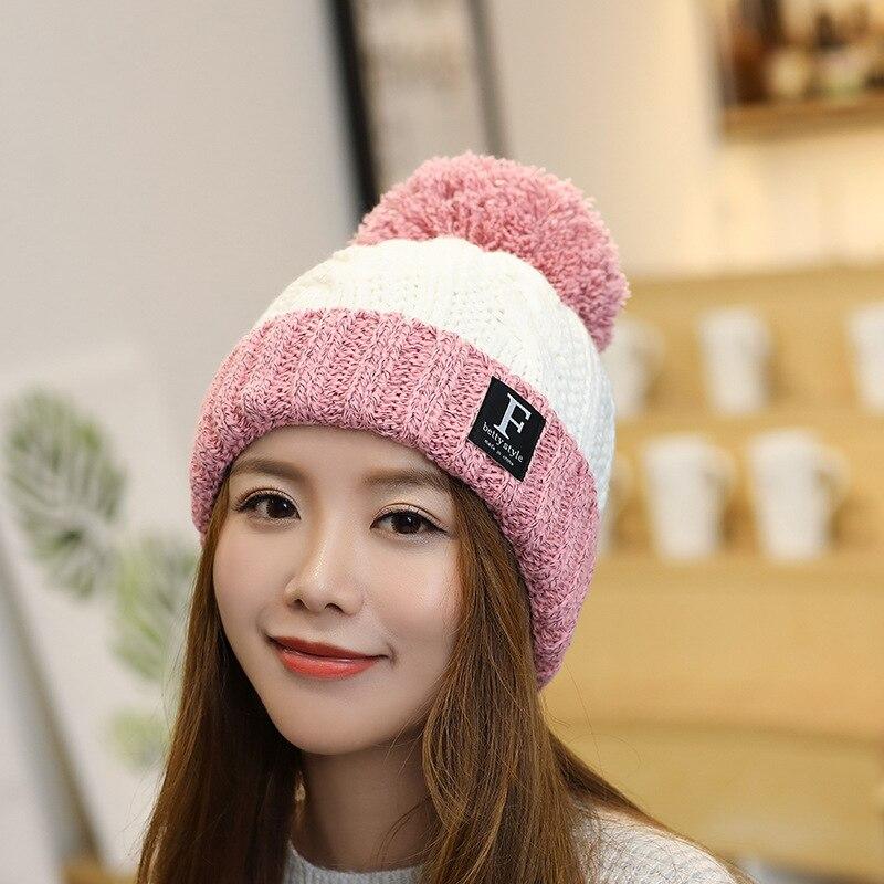 Malha de inverno letras chapéus feminino duplo engrossar e quente boné duas cores 2020 beanies lã toque bola adorável gorro coreano