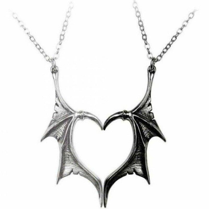 Индивидуальное двухцветное ожерелье с подвеской в виде сердца в стиле панк для влюбленных, винтажное модное массивное ожерелье с подвеской...