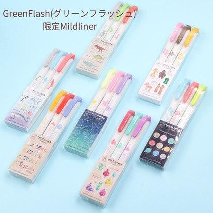 3pcs/set Japan ZEBRA Greenflash Joint Name Mildliner Light Double-headed Highlighter WKT7 Limited Marker Pen  Fluorescent Pen