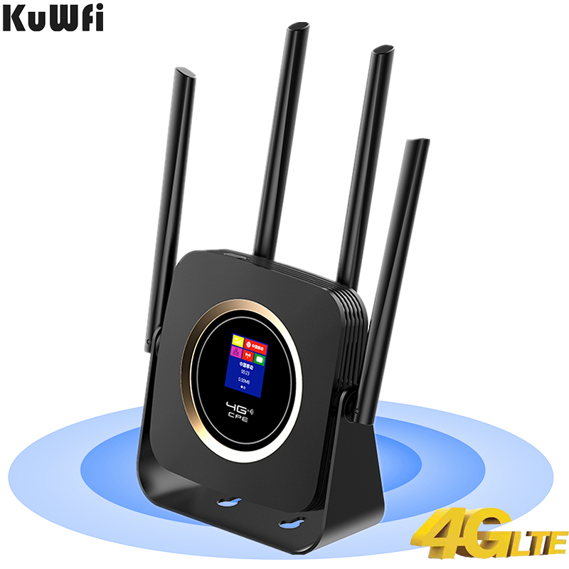 KuWFi 4G LTE Router 300Mbps High speed Wireless CPE built-in 3000mAh Battery Mobile Wifi Hotspot with SIM Card Slot Lan Port image