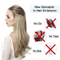 """Halo Hair Extensions No Clip in Ombre Blonde Black Pink Synthetic Natural False Artificial Hair Piece For Women 14"""" 16"""" 18"""" 22"""" 2"""