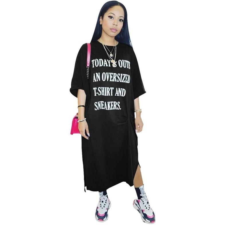 Oversized T Shirt Dress Women Plus Size Black Vintage Letter Print Long Maxi Dress Summer Elegant Korean Loose Casual Dress 2021