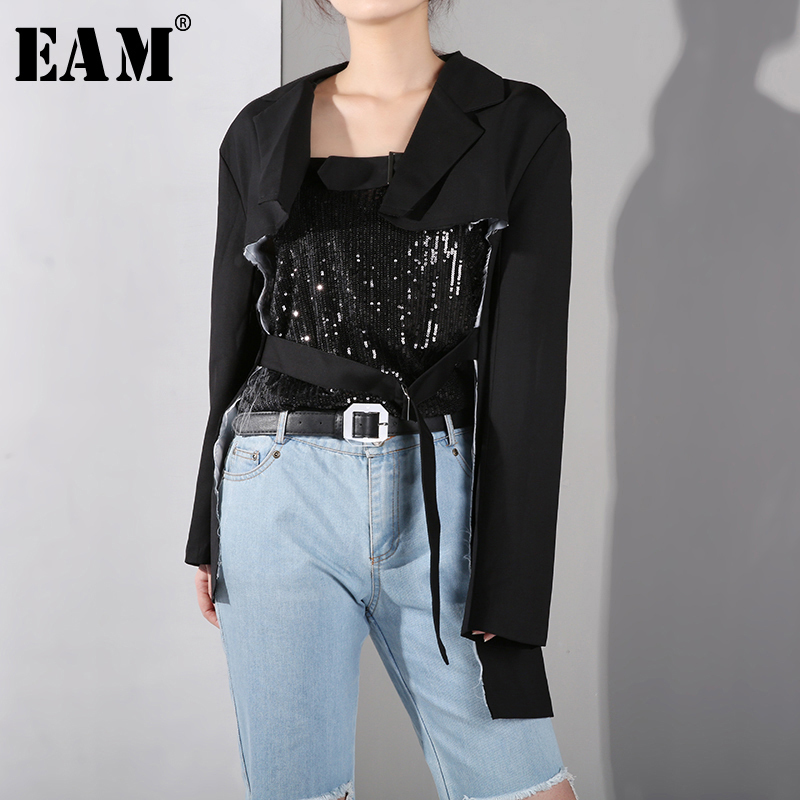 [EAM] 2020 New Spring Summer Lapel Long Sleeve Black Hollow Out Buckle Split Joint Loose Jacket Women Coat Fashion Tide WE36