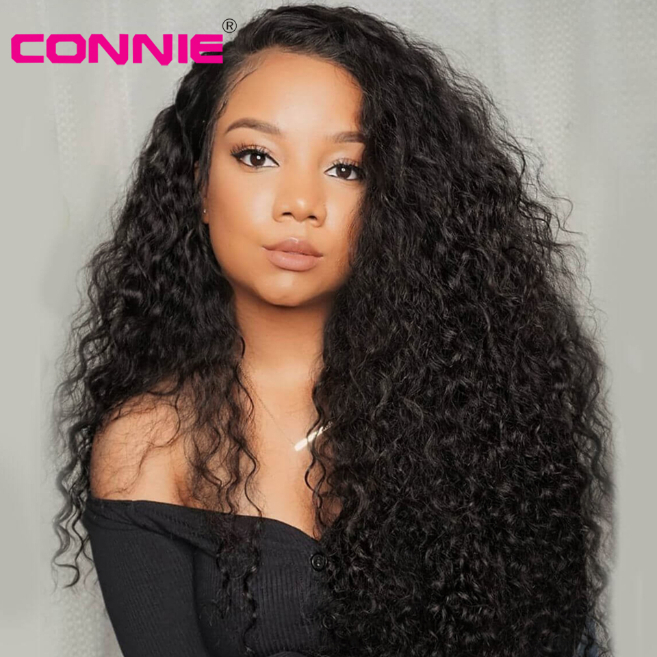 Connie 13x4 Lace Front Wig With Baby Hair Brazilian Remy Curly Human Hair Wigs For Black Women 150% Density
