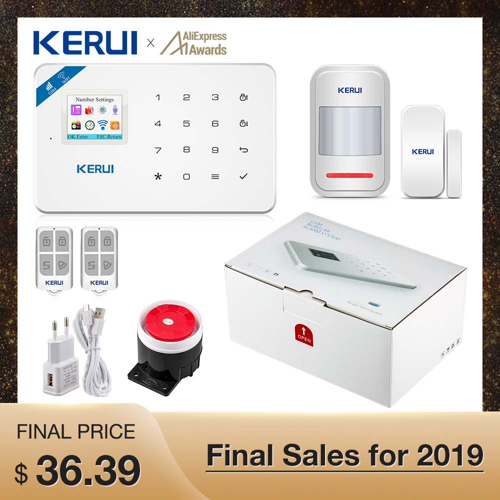 Kerui W18 Wireless Wifi Home Alarm GSM IOS Android APP Control LCD GSM SMS Burglar Alarm System For Home Security Alarm