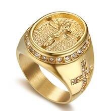 Мужское Сверкающее кольцо в стиле хип хоп с фианитом мужские
