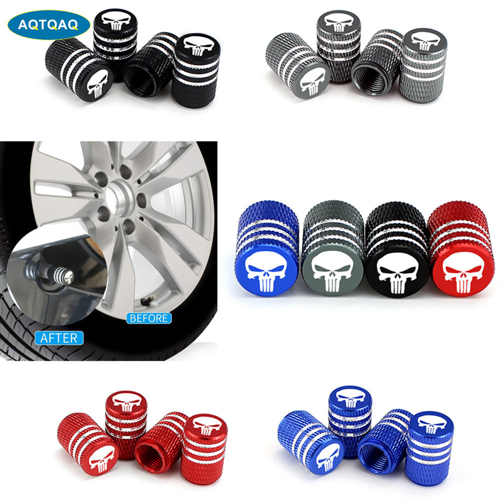 4Pcs/Set Universal Skull Alu-alloy Tire Valve Caps For Car Truck Motorcycle Bicycle Valve Stem Cover Tire Accessories