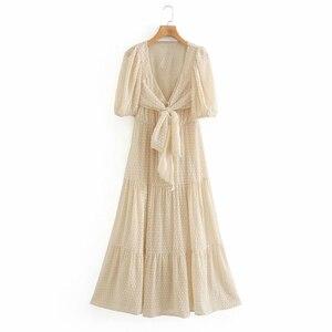 Женское винтажное однотонное платье с коротким рукавом, v-образным вырезом, перекрестной шнуровкой и бантом, элегантное шифоновое платье, л...