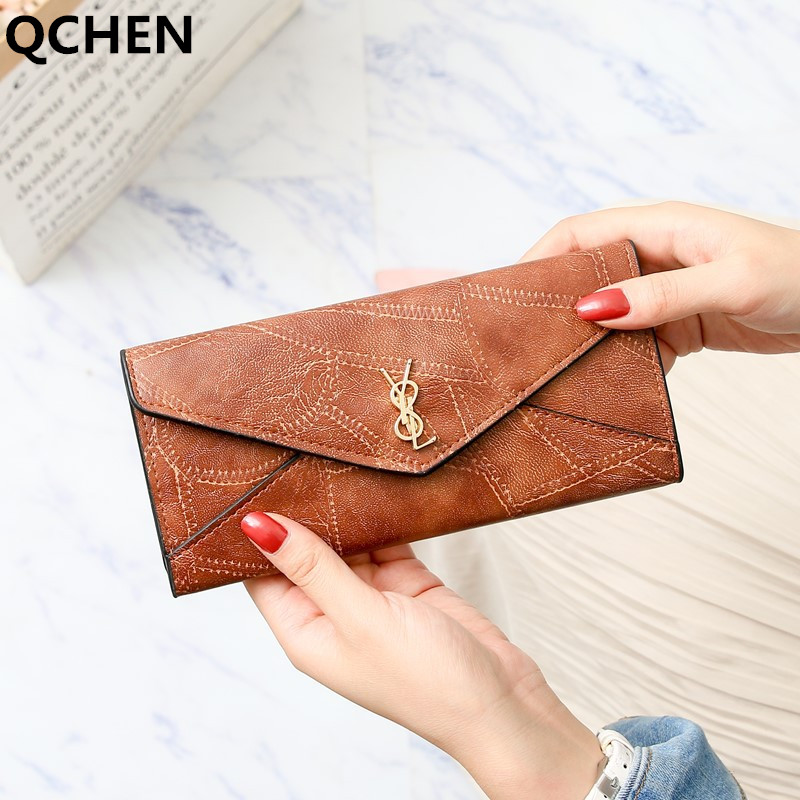 Wallet Women Long Luxury Brand Leather Coin Purses Tri-fold Soft Skin Buckle Clutch Female Money Bag Hand Credit Card Holder 663
